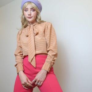 Vintage 70s Evan Picone peach satin bow blouse 12